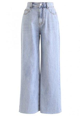Light Blue Wide-Leg Jeans - NEW ARRIVALS - Retro, Indie and Unique Fashion