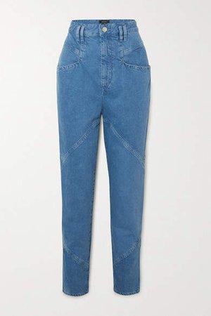 Eloisa Paneled Boyfriend Jeans - Blue