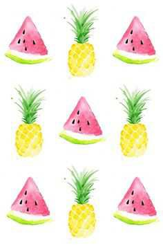 Pineapple and Watermelon Background - Pinterest