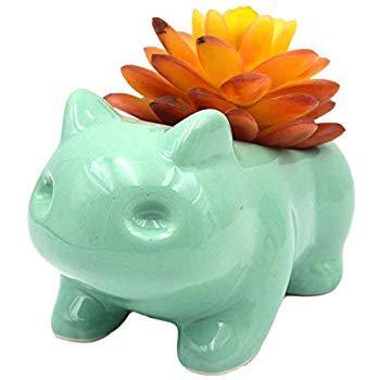 Amazon.com : Ceramic Bulbasaur Flowerpot Planter Pot Home Decorative DIY Painting Art Vase(Green) : Garden & Outdoor