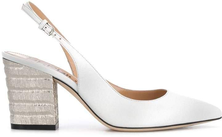 Marmo slingback block-heel pumps
