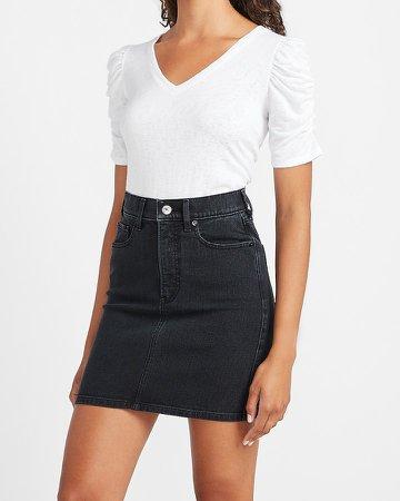 High Waisted Black Denim Mini Skirt