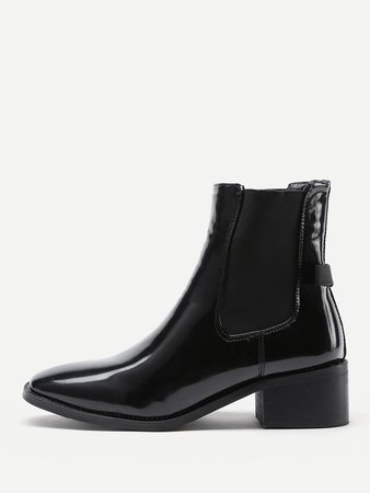 Almond Toe Patent Leather Ankle Boots