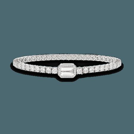 Boucheron, RIVIÈRE VENDÔME BRACELET Bracelet paved with diamonds, with rock crystal, in white gold
