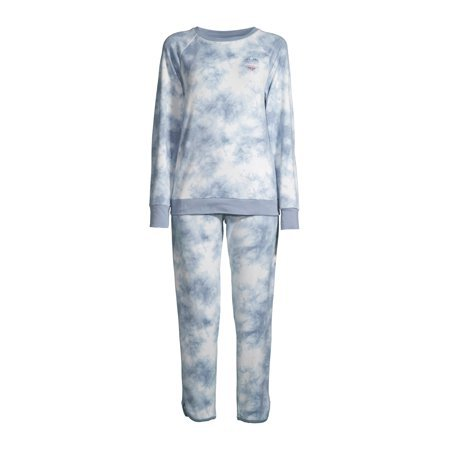EV1 from Ellen DeGeneres - EV1 from Ellen DeGeneres Cloud Tie Dye Long Sleeve Pajama Set Women's - Walmart.com - Walmart.com blue