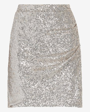 High Waisted Ruched Sequin Mini Skirt