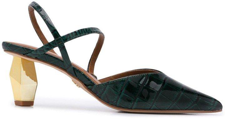 Della croc-embossed slingback sandals