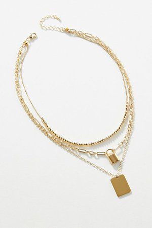 Lock Layered Necklace | Anthropologie
