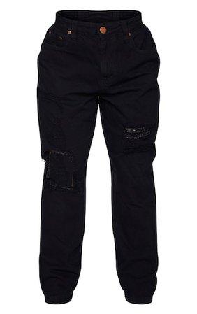 Shape Black Extreme Distressed Boyfriend Jeans   PrettyLittleThing USA