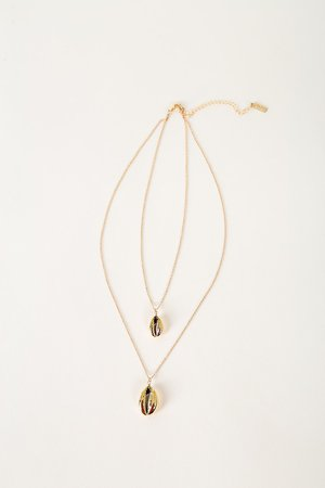 Gold Shell Necklace - Layered Necklace - Cowrie Shell Necklace
