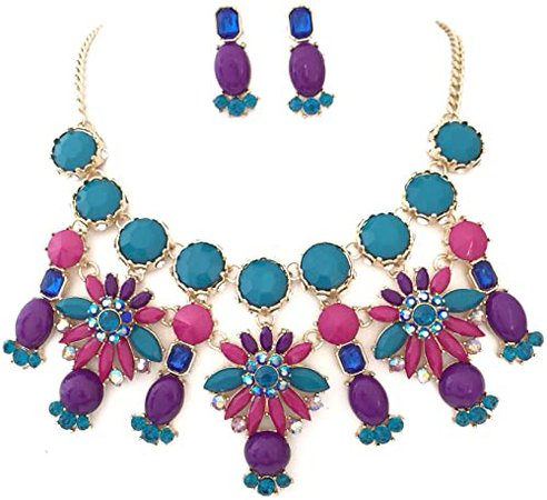 gold and purple necklace earrings - Google Search