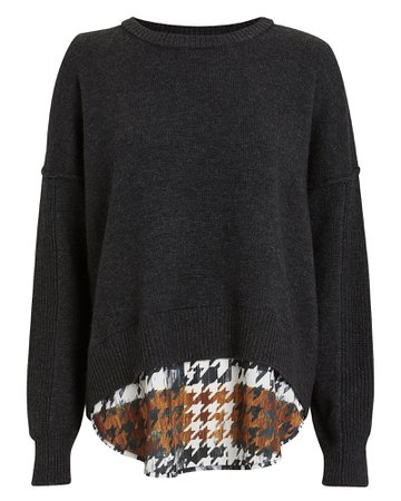 Layered Houndstooth Wool-Cashmere Sweater