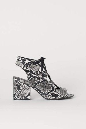 Sandals with Lacing - Gray