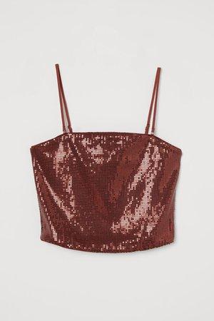 Cropped sequined top - Rust brown - Ladies   H&M GB