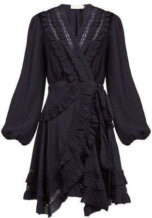 Moncur Frill Trimmed Silk Wrap Dress - Womens - Navy