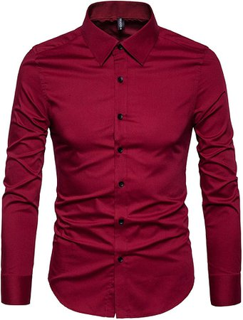 LOCALMODE Mens Casual Plain Button Down Easy Care Cotton Dress Shirts Slim Fit Business Long Sleeve Formal Shirts Wine Red Medium at Amazon Men's Clothing store