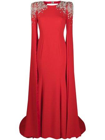 Jenny Packham embellished-shoulder Cape Dress - Farfetch