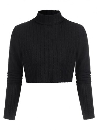 [31% OFF] 2020 Textured Turtleneck Cropped Tee In BLACK | ZAFUL