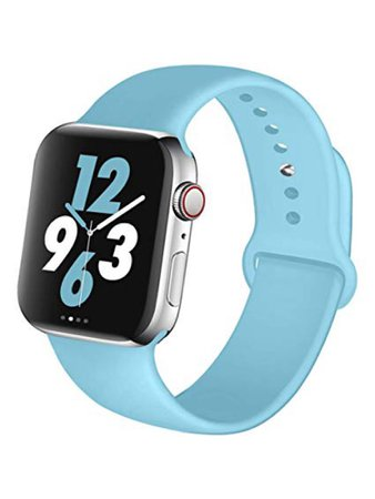 Apple Watch with light blue band