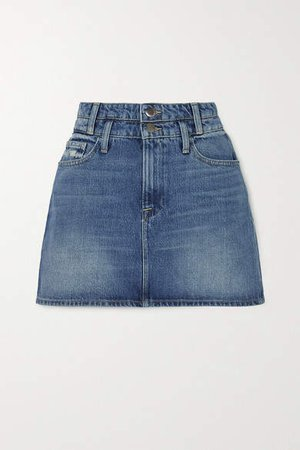 Le Mini Distressed Denim Skirt - Mid denim