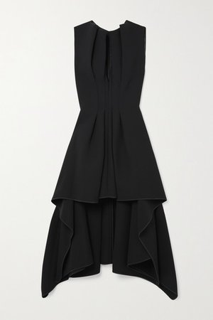 Inhibit Asymmetric Draped Cady Dress - Black