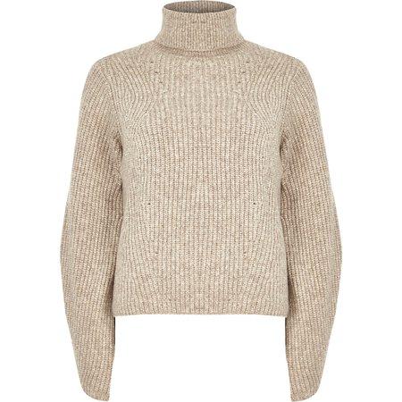 Beige knitted roll neck sweater - Sweaters - Knitwear - women