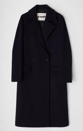 JIL SANDER - Wool Double Buttoned Coat Black