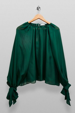 **Forest Green Sheer Blouse By Topshop Boutique | Topshop