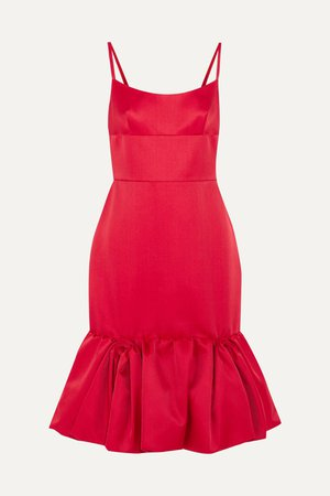 Red Wool and silk-blend satin peplum dress | Prada | NET-A-PORTER