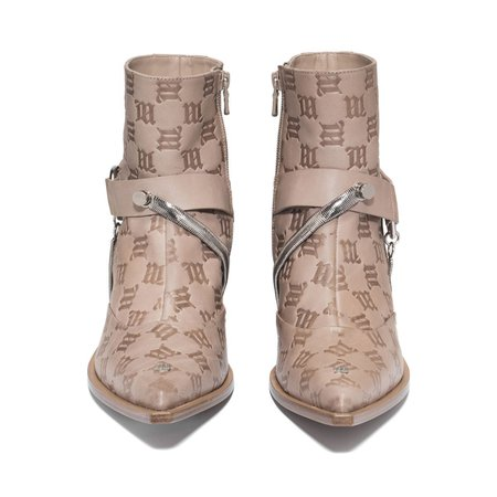 Cowboy Ankle Boots Beige Embossed Monogram