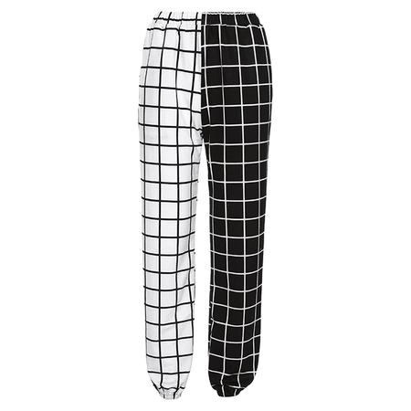 checkered sweatpants black & white