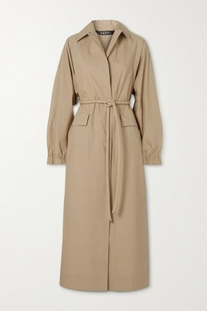 Belted Cotton Trench Coat - Beige