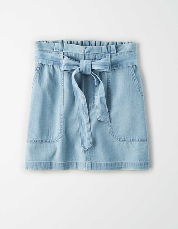 AE High-Waisted Denim Paperbag Mini Skirt