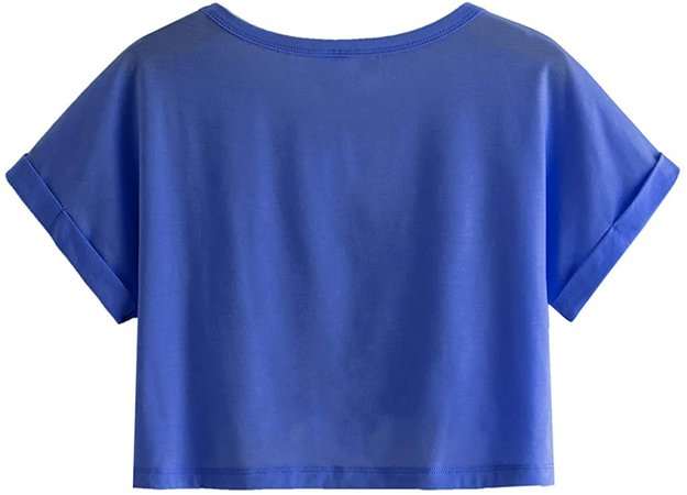 SweatyRocks Women's Casual Round Neck Short Sleeve Soild Basic Crop Top T-Shirt Navy Large at Amazon Women's Clothing store
