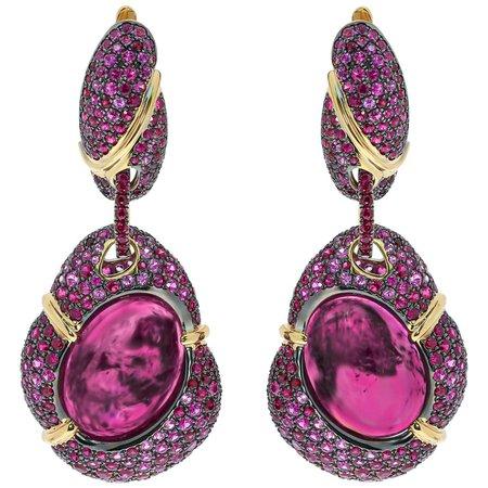 Mousson Atelier Pink Tourmaline 18.40 Carat Ruby Pink Sapphire 18 Karat Yellow Gold Earrings