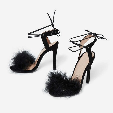 Savanna Lace Up Fluffy Heel In Black Faux Suede | EGO