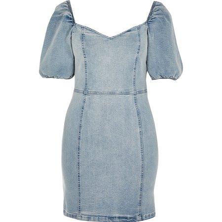 Blue puff sleeve fitted denim mini dress | River Island