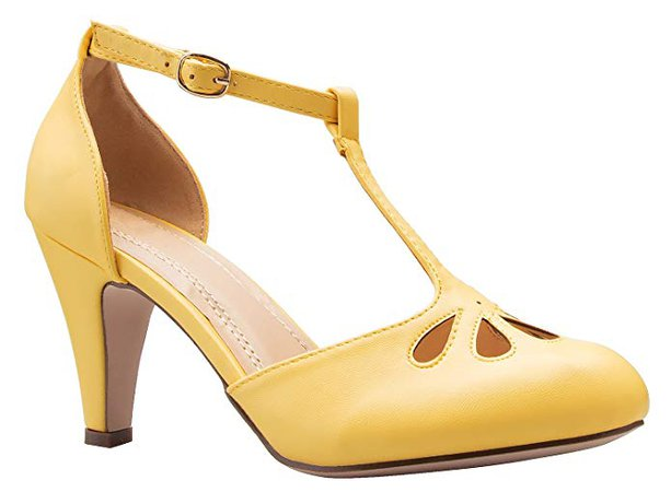 Amazon.com   OLIVIA K Women's Low Heels Mary Jane Pumps - Adorable Vintage Shoes- Unique Round Toe Design with an Adjustable T Strap Yellow   Pumps