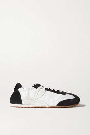 Suede, Canvas And Leather Sneakers - White