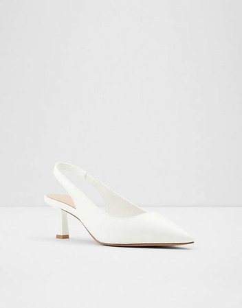 Peranga sling-back flared heel pumps in White | ALDO