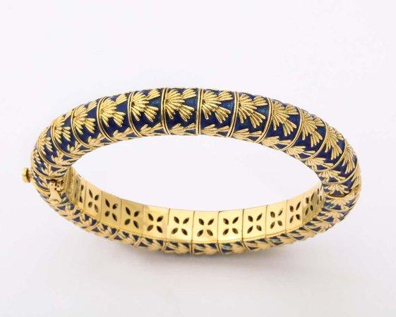 Tiffany and Co. Paris Blue Enamel Gold Bangle Bracelet