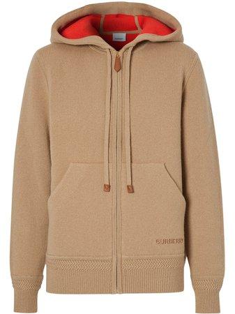 Neutral Burberry Embroidered-Logo Cashmere Hoodie For Women | Farfetch.com