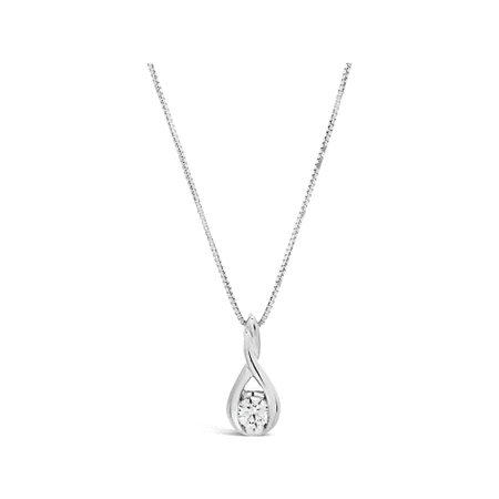 18K White Gold and Diamond Pendant and Chain