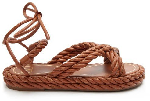 The Rope Ankle-tie Leather Sandals - Tan