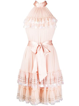 Temperley London Sylvan Chiffon Halterneck Dress