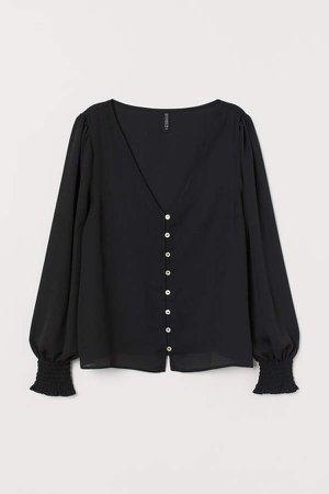 Smocked-detail V-neck Blouse - Black