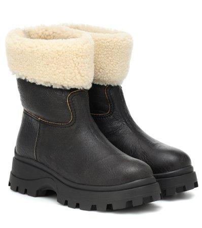 Miu Miu - Shearling and leather ankle boots | Mytheresa
