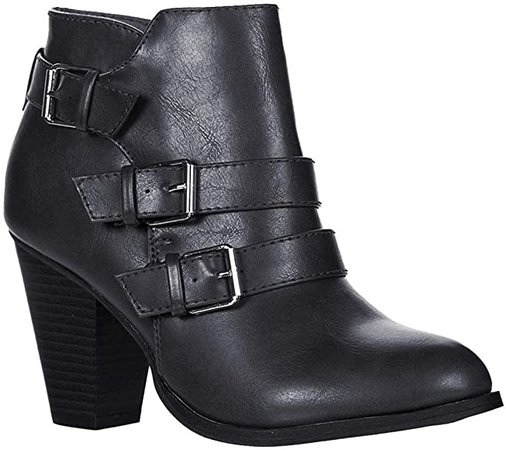 Amazon.com | Forever Women's Buckle Strap Block Heel Ankle Booties, Tan 7.5 | Ankle & Bootie