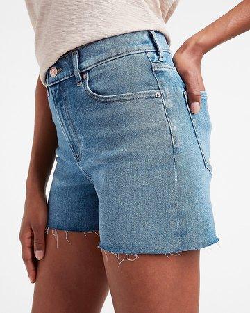 High Waisted Faded Raw Hem Jean Shorts