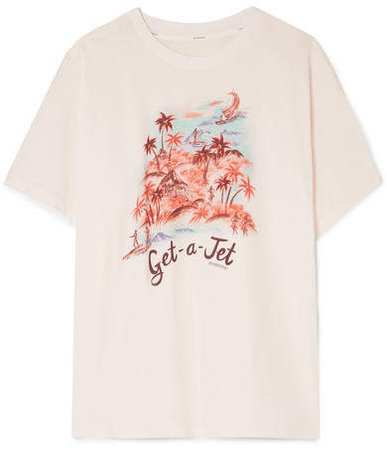 Eyes On Summer Printed Linen And Cotton-blend Jersey T-shirt - Ivory